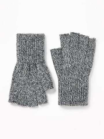 Old Navy Mens Fingerless Sweater-knit Gloves For Men Grey Marl Size L/xl