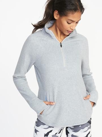 Old Navy Womens Micro Performance Fleece 1/4-zip Pullover For Women On Medium Gray Heather Size Xs