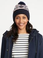 Old Navy Womens Printed Sweater-knit Pom-pom Beanie For Women Multi Fair Isle Size One Size