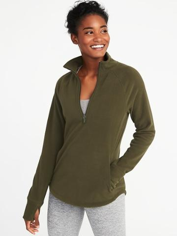 Old Navy Womens Micro Performance Fleece 1/4-zip Pullover For Women Royal Pine Size Xs
