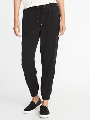 Old Navy Womens Mid-rise Soft Twill Utility Joggers For Women Black Size Xs