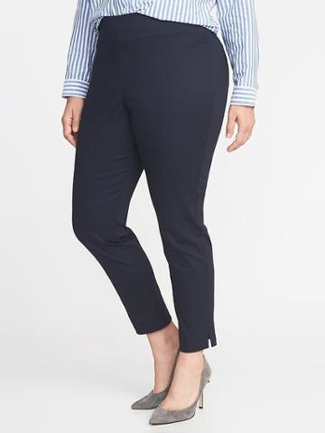 Old Navy Womens High-rise Pull-on Plus-size Pants In The Navy Size 16
