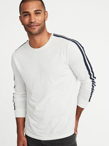 Old Navy Mens Soft-washed Sleeve-stripe Tee For Men On White Heather Size S