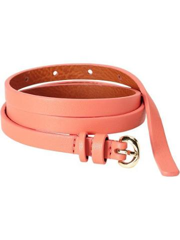 Old Navy Womens Skinny Faux Leather Belts Size L/xl - Coral Pink
