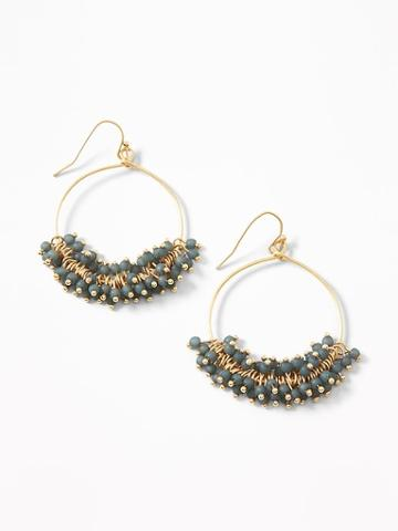 Beaded Hoop Drop Earrings For Women