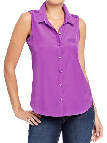 Old Navy Womens Sleeveless Buttoned Chiffon Tops