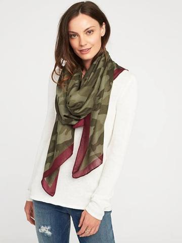 Old Navy Lightweight Printed Scarf For Women - Camouflage Green