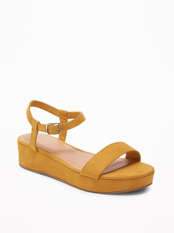 Sueded Ankle-strap Platform Sandals For Women
