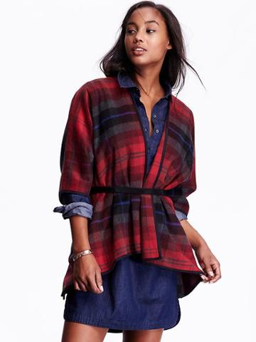 Old Navy Womens Faux Wool Open Front Poncho Size M/l - Red Plaid