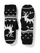 Old Navy Sweater Knit Mittens For Women - Black Fair Isle