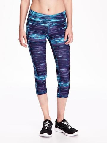 Old Navy Womens Mid-rise Compression Crops For Women Purple Stripe Size L