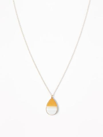 Two-tone Teardrop Pendant Necklace For Women
