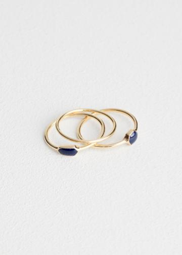Other Stories Glossy Enamel Ring Set - Blue