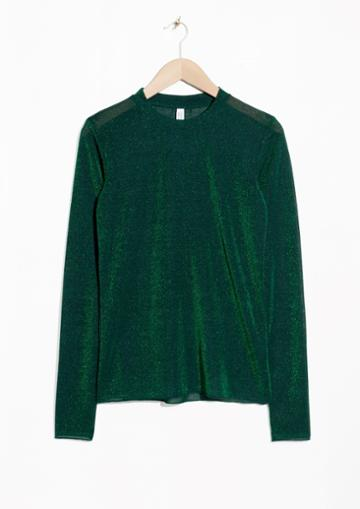 Other Stories Glittering Long Sleeve Top
