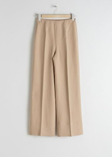 Other Stories Wide Lyocell Blend Trousers - Beige