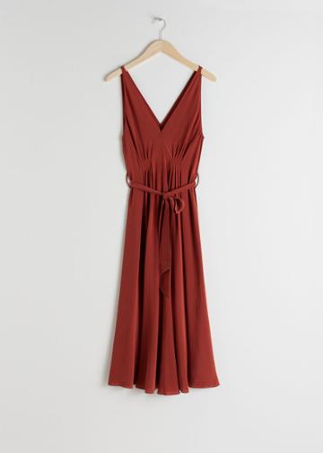 Other Stories Belted Silk Midi Dress - Red
