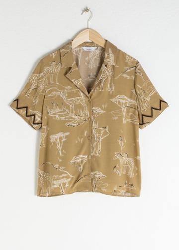 Other Stories Safari Print Button Up Shirt - Beige