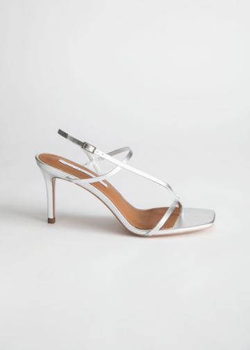 Other Stories Cross Strap Stiletto Sandals - Silver