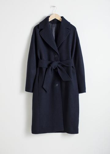 Other Stories Belted Wool Coat - Blue