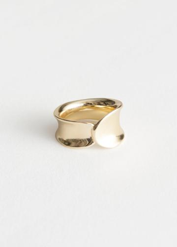 Other Stories Curved Overlap Ring - Gold