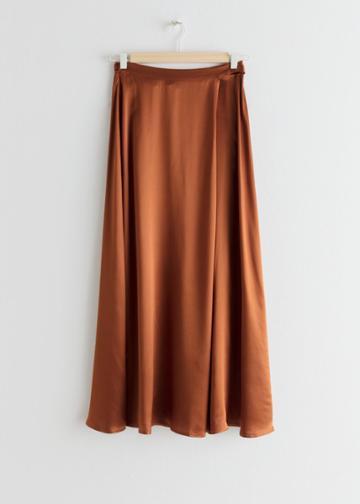 Other Stories Satin Wrap Maxi Skirt - Orange