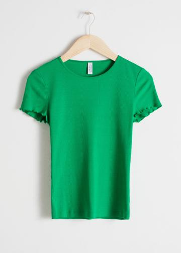 Other Stories Ribbed Cotton Ruffle Tee - Green