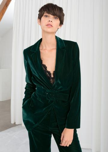 Other Stories Velvet Belted Blazer - Turquoise