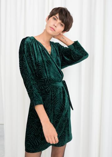 Other Stories Velvet Wrap Dress - Turquoise