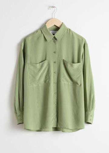 Other Stories Oversized Silk Shirt - Green