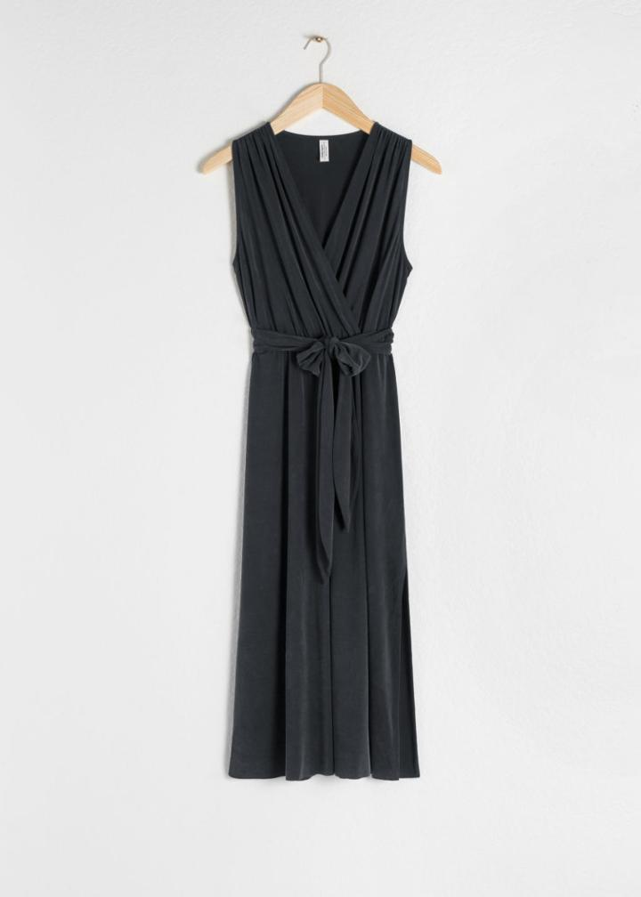 Other Stories Belted Cupro Midi Dress - Black