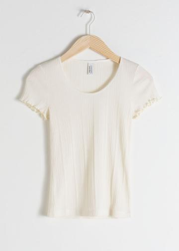 Other Stories Ribbed Stretch Cotton Tee - White