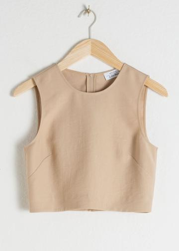 Other Stories Cropped Lyocell Tank Top - Beige