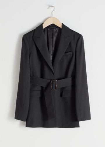 Other Stories Belted Wool Blend Blazer - Black
