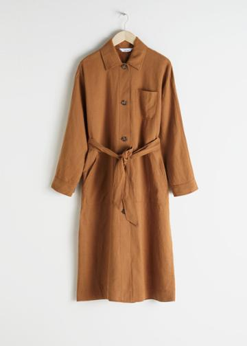 Other Stories Linen Blend Trench Coat - Yellow