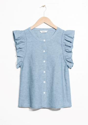 Other Stories Cotton And Linen Blend Frill Top
