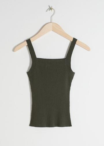 Other Stories Square Neck Rib Knit Tank Top - Green