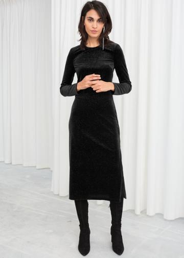 Other Stories Long Sleeve Velvet Midi Dress - Black