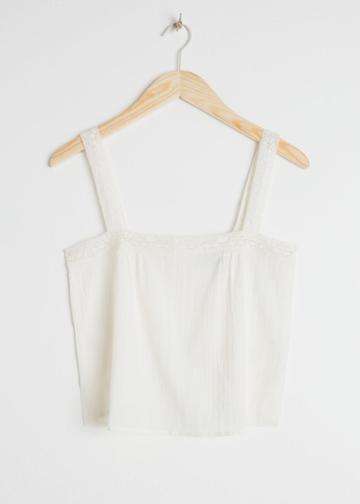 Other Stories Cotton Crochet Tank Top - White