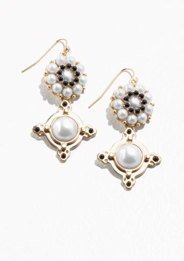 Other Stories Hanging Pearl Earrings