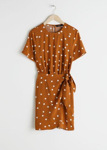 Other Stories Tie Up Mini Wrap Dress - Orange