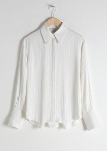Other Stories Pinstripe Button Up Shirt - White