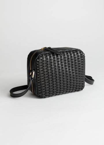 Other Stories Basket Weave Crossbody Bag - Black