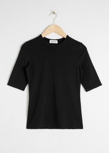 Other Stories Fitted Stretch Cotton Tee - Black