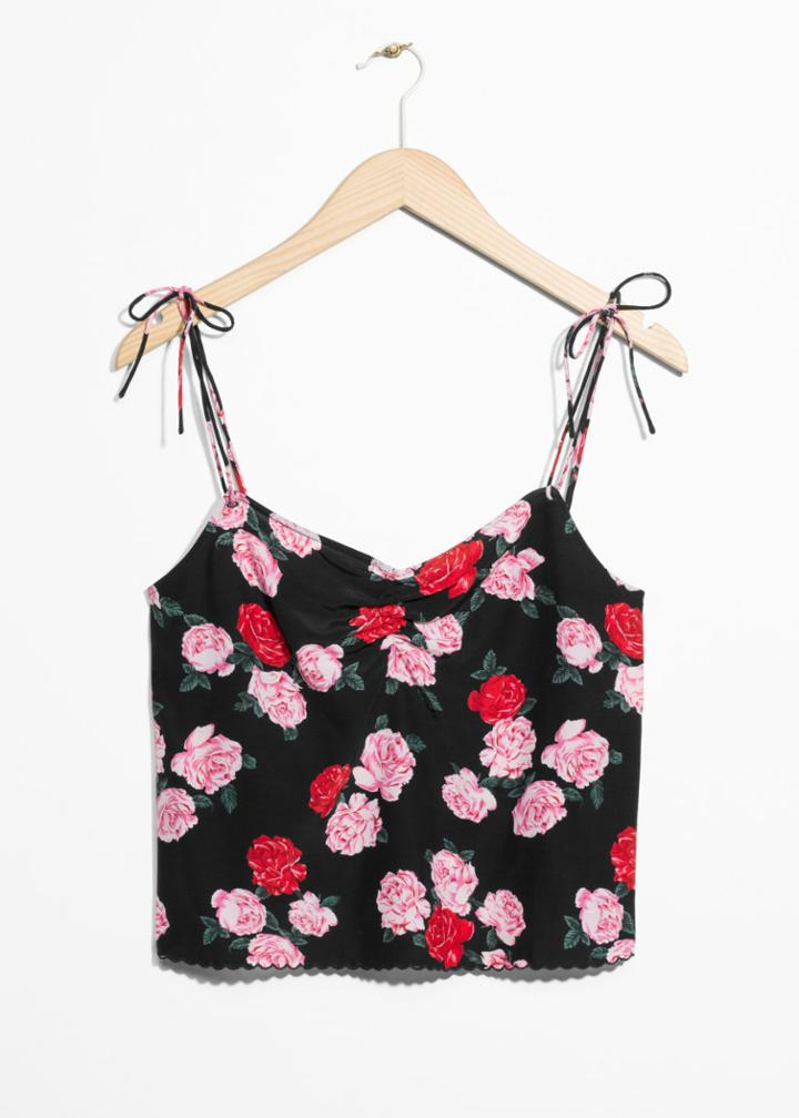Other Stories Floral Print Tank Top - Black