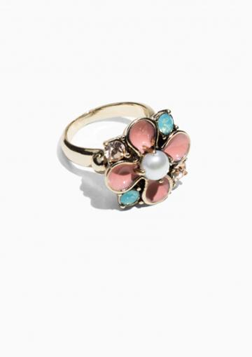 Other Stories Flower Gemstone Ring