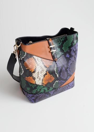 Other Stories Leather Snake Bucket Bag - Orange