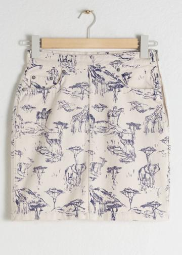 Other Stories Safari Print Denim Mini Skirt - White