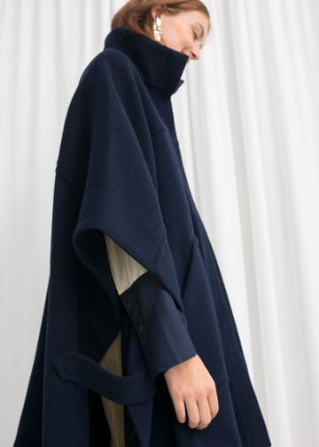 Other Stories Wool Blend Workwear Cape - Blue