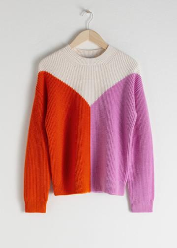 Other Stories Wool Blend Colour Block Sweater - White