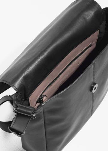 Other Stories Leather Messenger Bag - Black